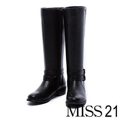 長靴 MISS 21 纖細V型剪裁金屬釦環低跟長靴-黑