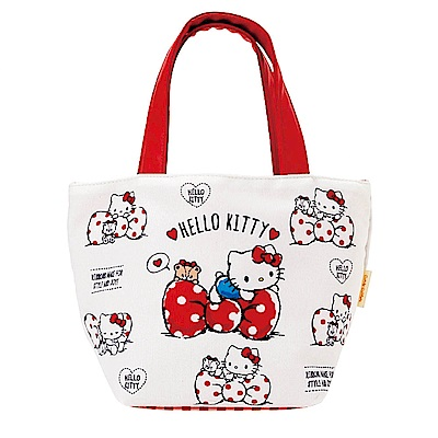 Sanrio HELLO KITTY雙面圖案防潑水手提袋(小熊點點)