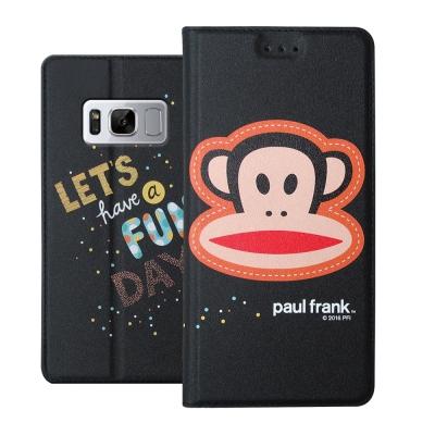大嘴猴正版授權 SAMSUNG Galaxy S8+ 金沙灘彩繪磁力皮套(大頭黑...