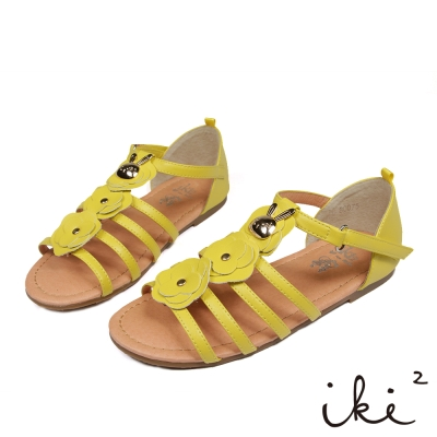iki2童鞋-咕妮兔系列-羅馬花朵涼鞋-艷夏黃