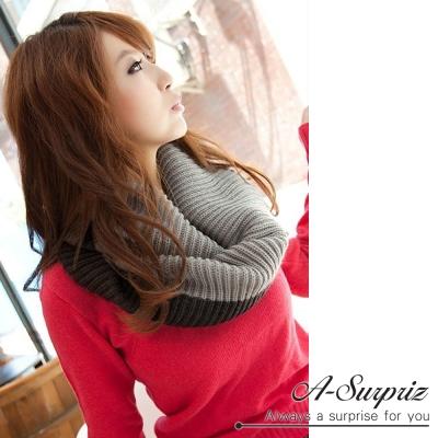 A-Surpriz 時尚大方雙色針織脖圍巾(深灰)