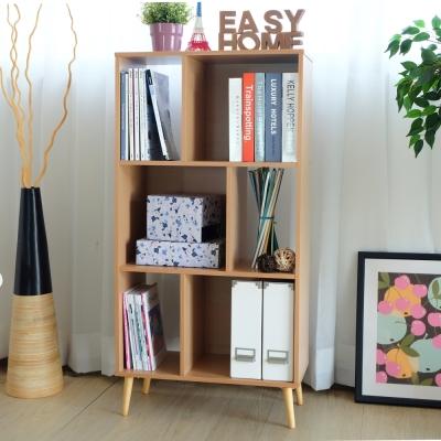 EASY HOME-六格開放收納櫃附實木腳(原木色)-60x30x120cm