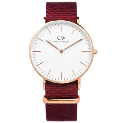 DW Daniel Wellington Classic尼龍手錶-白x玫瑰金x紅/36mm