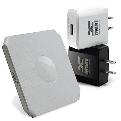 HANG 方塊餅乾支援 QC3.0/QC2.0 快速無線充電座+快速旅充-白