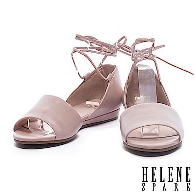 平底鞋 HELENE SPARK 柔美浪漫純色環繞繫帶羊皮一字魚口平底鞋-粉