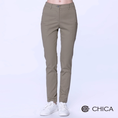 CHICA-簡約設計車縫拼接線條感長褲-3色