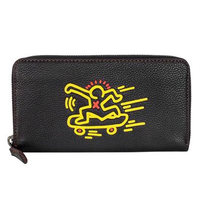 COACH Keith Haring滑板人形黑色全皮拉鍊長夾