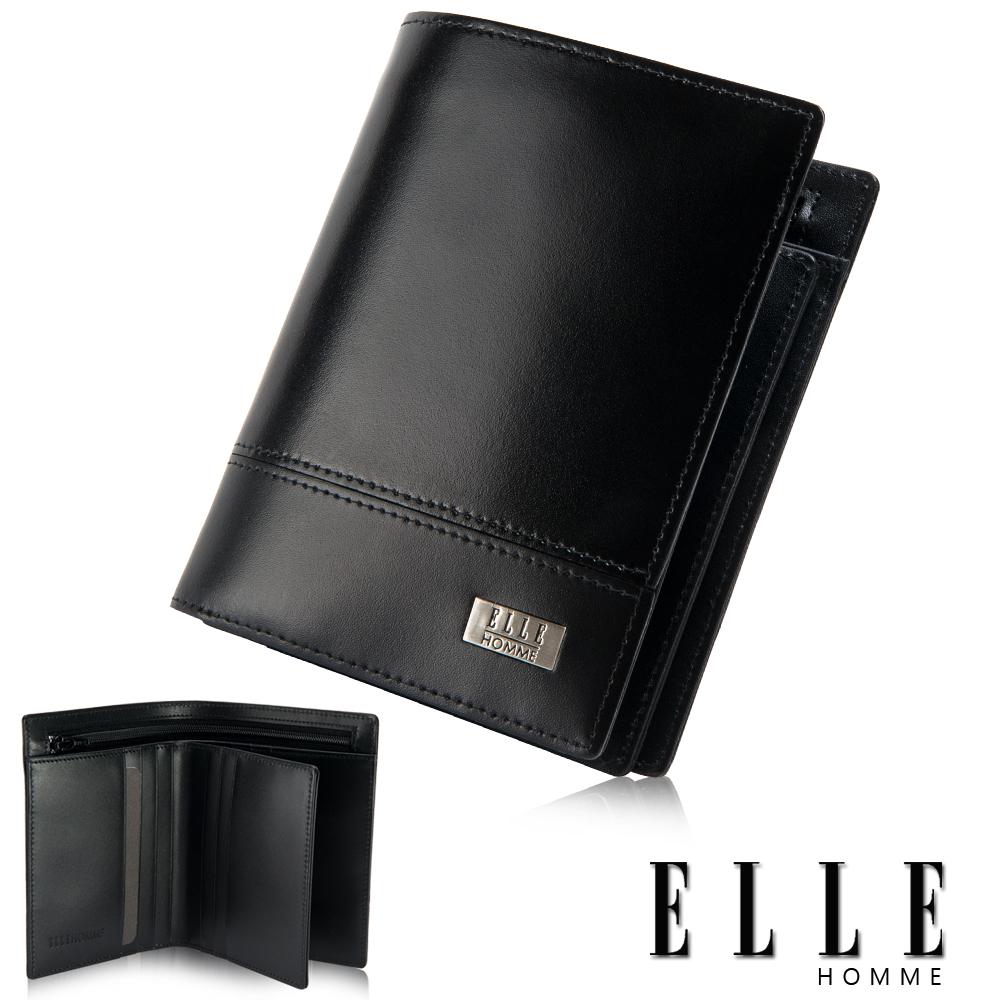 ELLE HOMME 隱藏式拉鍊零錢層/鈔票多層/證件/名片格層設計-黑