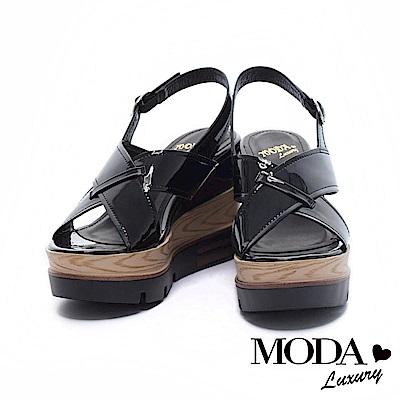 涼鞋 MODA Luxury 摩登鏡面交織寬帶厚底楔型涼鞋- 黑
