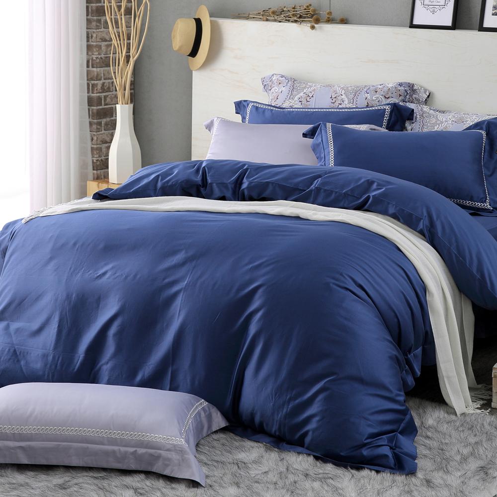 HOYAH Series絲絨藍 特大四件式500織刺繡匹馬棉被套床包組 配加大被套