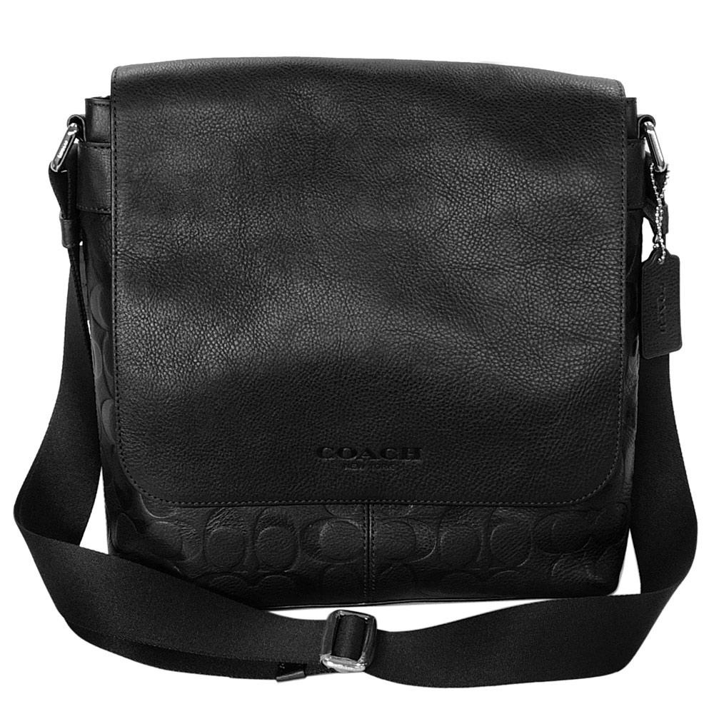 COACH黑色全皮拼接壓印C Logo男用方型斜背包
