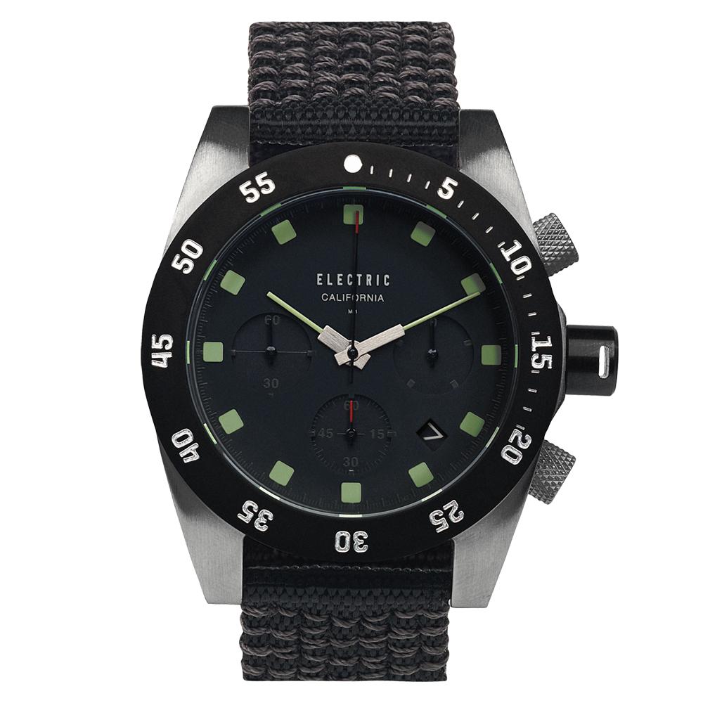 ELECTRIC DW01系列-經典潛水三眼計時腕錶-黑面x黑帆布帶/44.5mm @ Y!購物