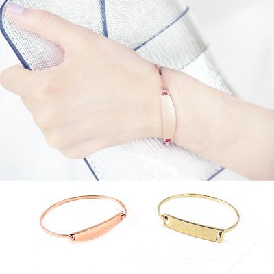 ArFFi-艾菲-歐美光澤告示牌極簡手環-淺金-玫金