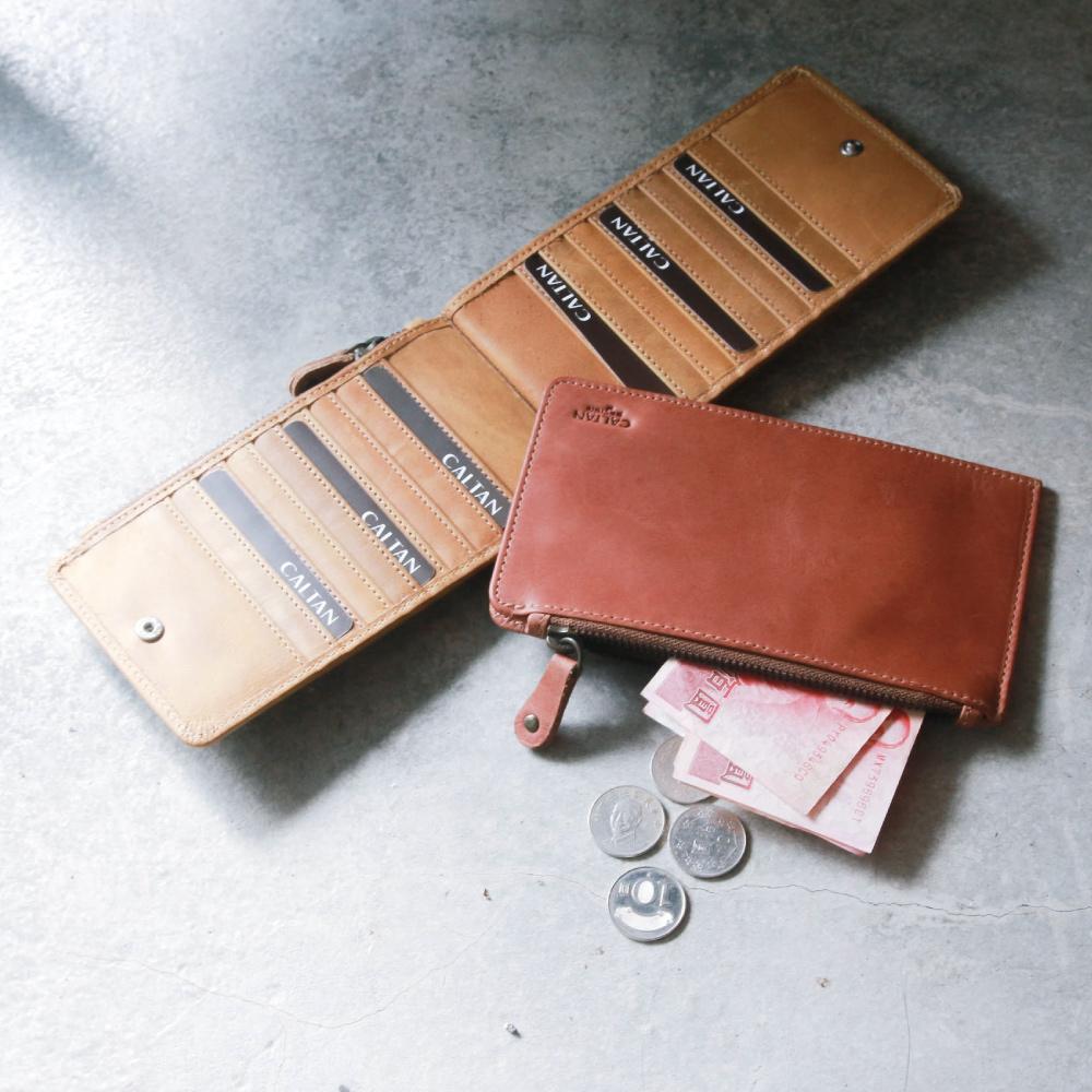 CALTAN - 女用真皮長夾皮夾拉鍊式名片夾多層卡夾-2012ht