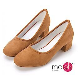mo.oh-素面麂皮絨質感方頭中跟粗跟鞋-棕色