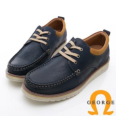GEORGE 喬治-休閒系列 輕量舒適綁帶休閒鞋-寶藍