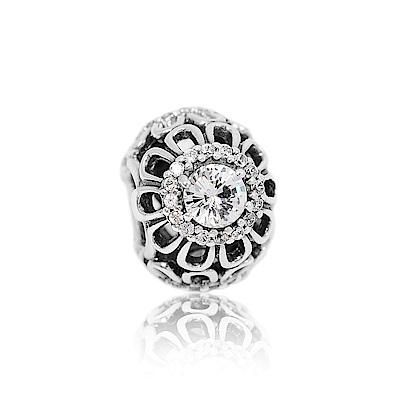 Pandora 潘朵拉 魅力鏤空鑲鋯花卉 純銀墜飾 串珠
