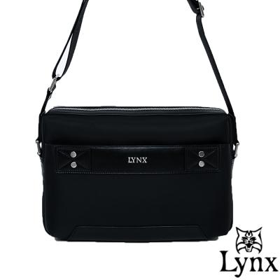 Lynx - 山貓紳士極簡風格橫式真皮斜側背包(小)-紳士黑