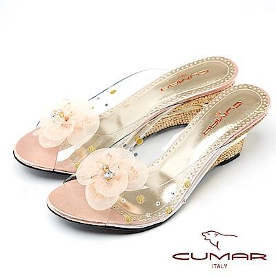 CUMAR仙杜瑞拉-裸肌美腳楔形跟玻璃鞋-粉紅