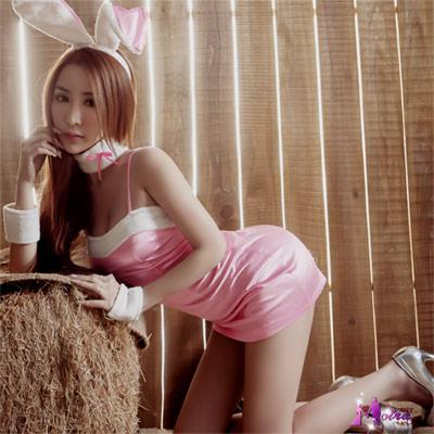 Moira 粉嫩動人五件式兔女郎角色扮演服
