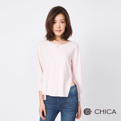 CHICA 俯拾日常柔色拼接蕾絲造型上衣(3色)