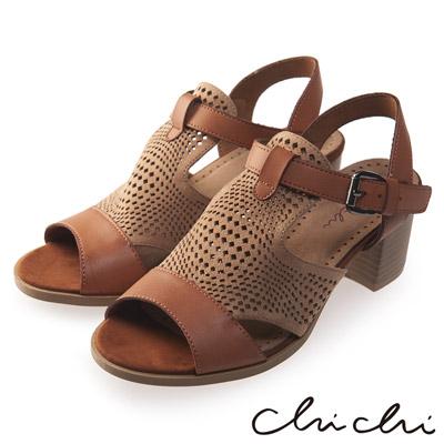 Chichi 洞洞擦色扣環粗跟涼鞋*駝色
