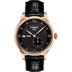 TISSOT Le Locle 力洛克獨立小秒針機械腕錶-黑x玫塊金/39mm