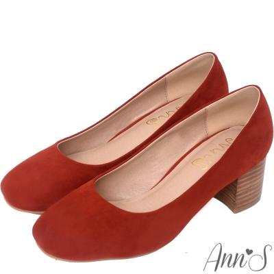 Ann'S質感女孩-素面方頭木粗跟包鞋-橘紅