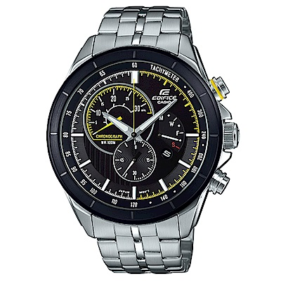 EDIFICE急速賽車風格三針三眼計時腕錶(EFR-561DB-1)黃線圈/46.7mm