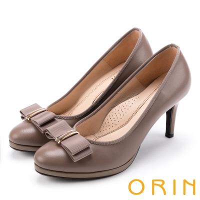 ORIN 優雅甜美系 羊皮織帶蝴蝶結金屬飾釦高跟鞋-可可