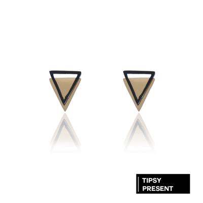 微醺禮物 正韓 耳環 鈦鋼 簡約造型 三角重疊 潮流耳環 針式