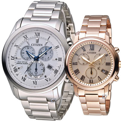 CITIZEN 完美情緣光動能對錶(BL5540-53A FB1432-55X)白+玫瑰金