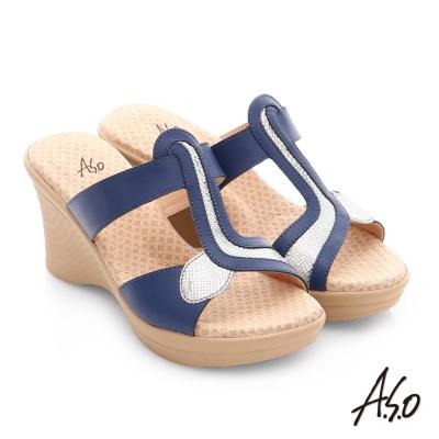 A.S.O 挺麗氣墊 全真皮寬楦圖騰氣墊楔型涼拖鞋 藍色