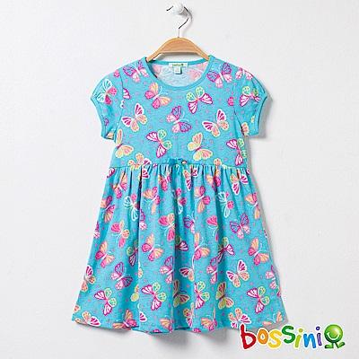 bossini女童-印花連身洋裝05藍