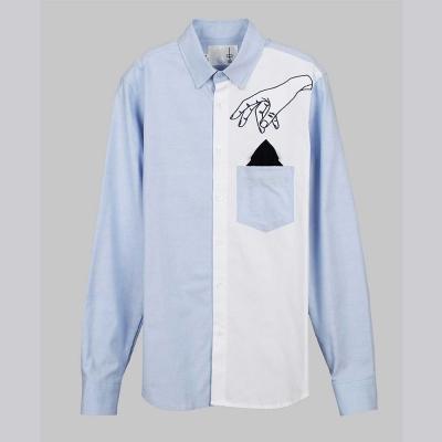 摩達客-韓國進口EXO合作設計品牌DBSW Pickpocket趴手 藍白時尚純棉襯衫