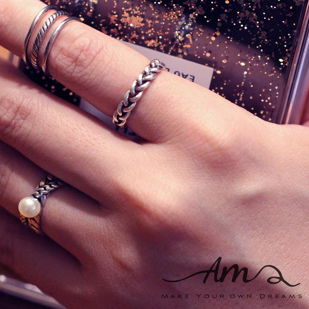 AM輕飾品個性麻花純銀戒指開口戒活圍戒