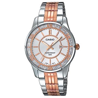 CASIO 簡約風采閃亮時尚日曆指針腕錶(LTP-1358RG-7)銀白X金時刻34mm