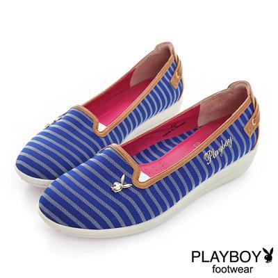 PLAYBOY 高雅品味 GOPLAY條紋娃娃鞋-藍(女)