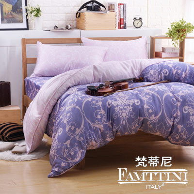 梵蒂尼Famttini-皇家韻味 加大頂級純正天絲萊賽爾兩用被床包組