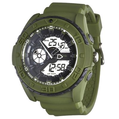 JAGA捷卡-blink 捍衛戰士雙顯多功能電子錶-綠/34mm