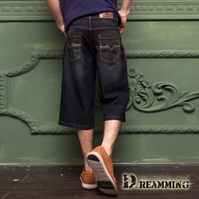 Dreamming 日系酷型輕薄刷色直筒牛仔七分褲-黑色