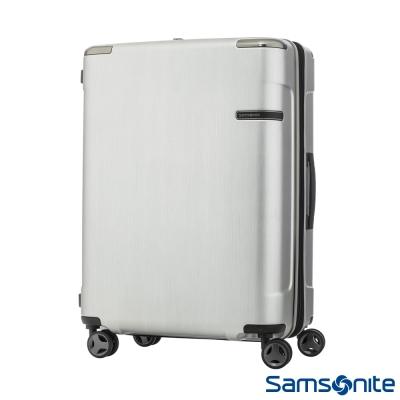 Samsonite新秀麗25吋 Evoa 拉絲光澤防盜拉鍊抗震輪TSA硬殼行李箱(銀)