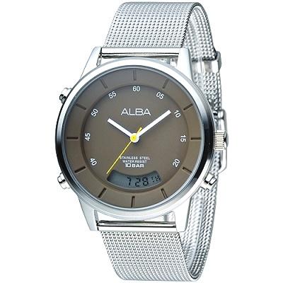 ALBA 極簡米蘭風雙顯腕錶(AVR007X1)-巧克力色/40mm