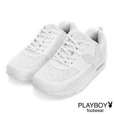 PLAYBOY 自由探險 兔頭拼接氣墊運動鞋-白(女)