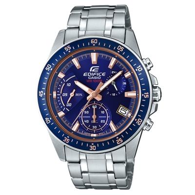EDIFICE時尚運動風格賽車藍主題設計指針腕錶(EFV-540D-2)43.8mm