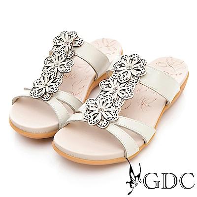 GDC-真皮花朵舒適軟底拖鞋-米色