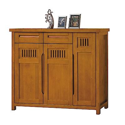 品家居 普莉瑪4.2尺實木三門二抽鞋櫃-126x40.1x112.6cm免組