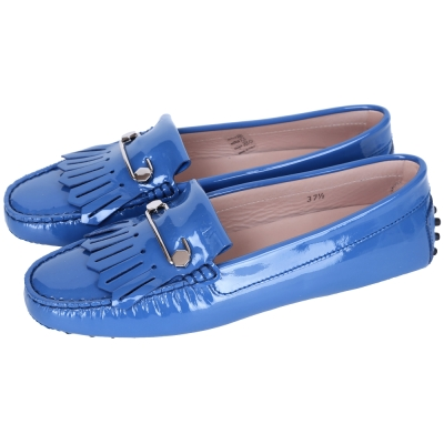 TOD'S Gommino Driving 流蘇拼接漆皮豆豆休閒鞋(藍色)