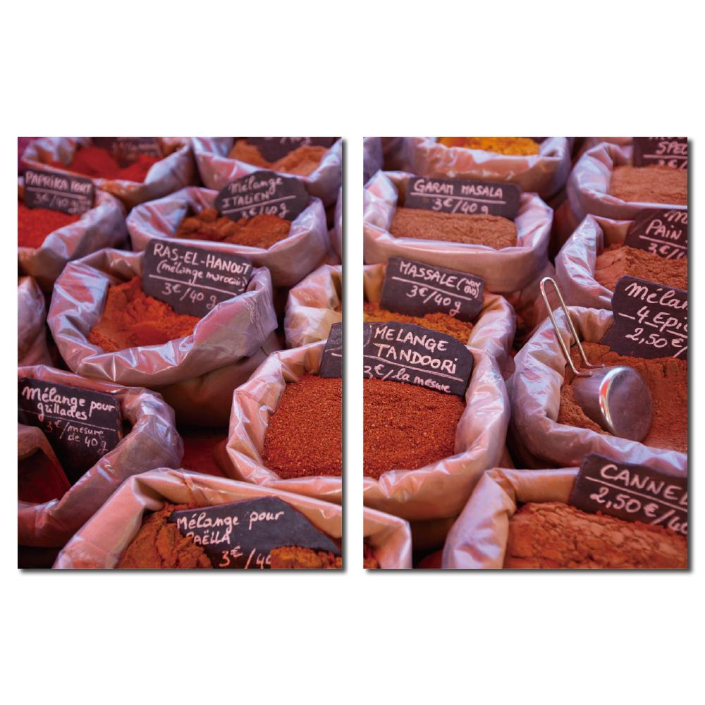 24mama掛畫-二聯直幅餐廳民宿印度飯店掛飾壁鐘時鐘畫框無框畫掛畫-香料-30x40cm