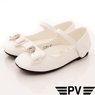PV日系私藏 鑽飾皮質公主鞋款 7763白(中小童段)H
